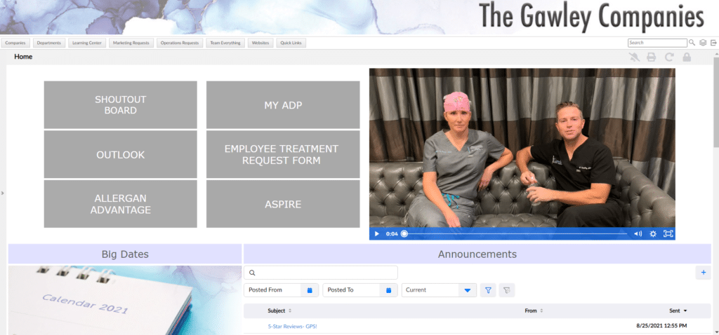 Gawley Plastic Surgery homepage drives company culture and communication