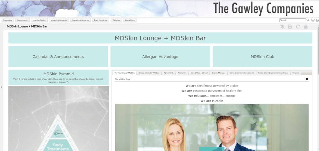 Gawley MDSkin Page Dashboard reinforces company culture